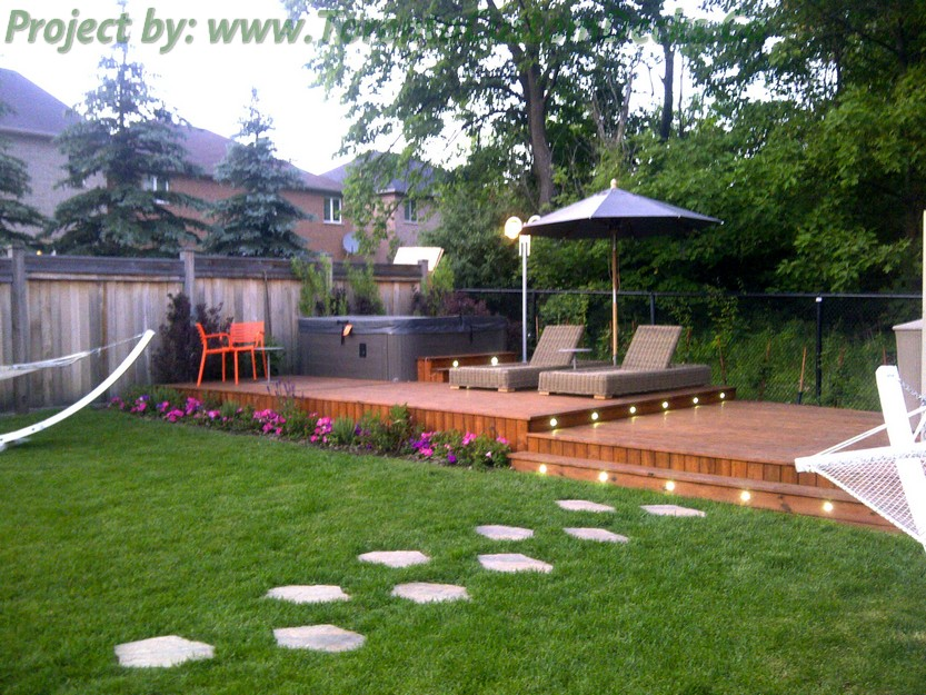 Custom Backyard Deck Designs : Cedar Patio decks and landscaping design  Toronto Custom deck design