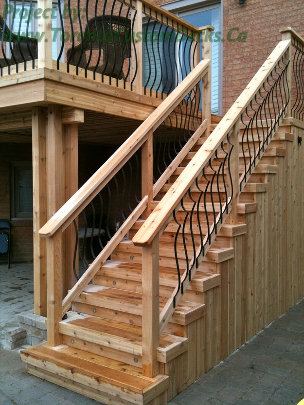 Gallery of 2nd level cedar deck with basement walkout in Walkout basement deck designs