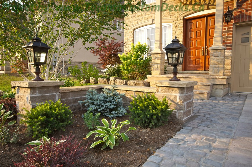 Front yard landscaping and interlock driveway Toronto