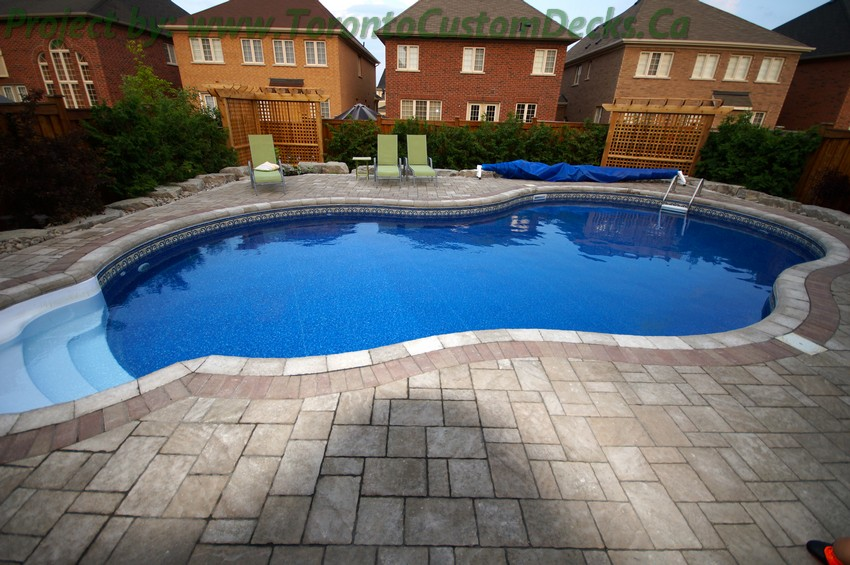Driveway paving with interlock pool deck and pergola