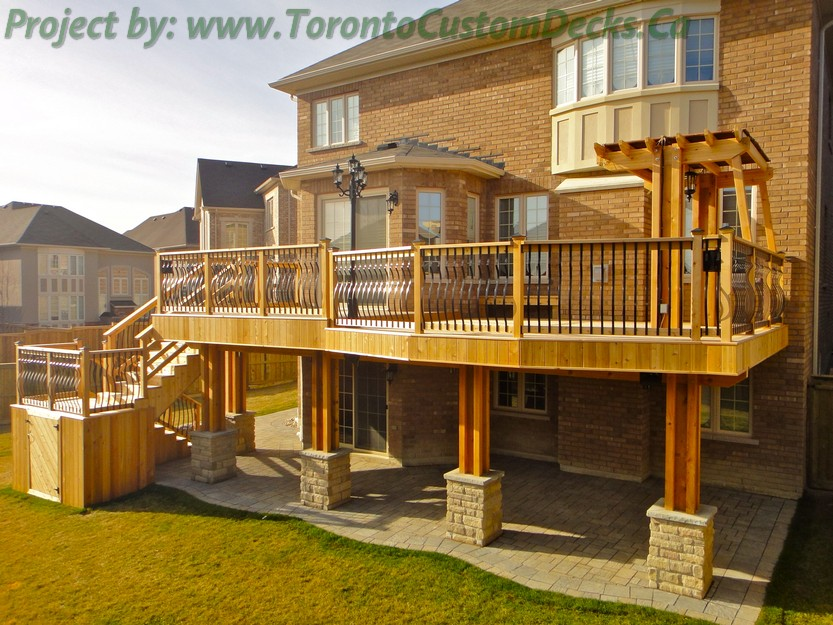 Custom deck with basement walkout interlock