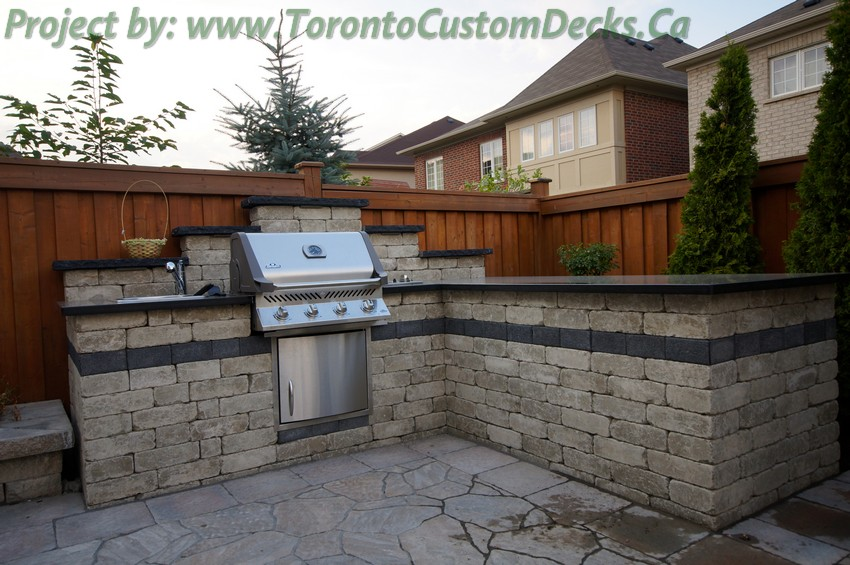 Driveway interlock and Landscaping project with outdoor kitchen