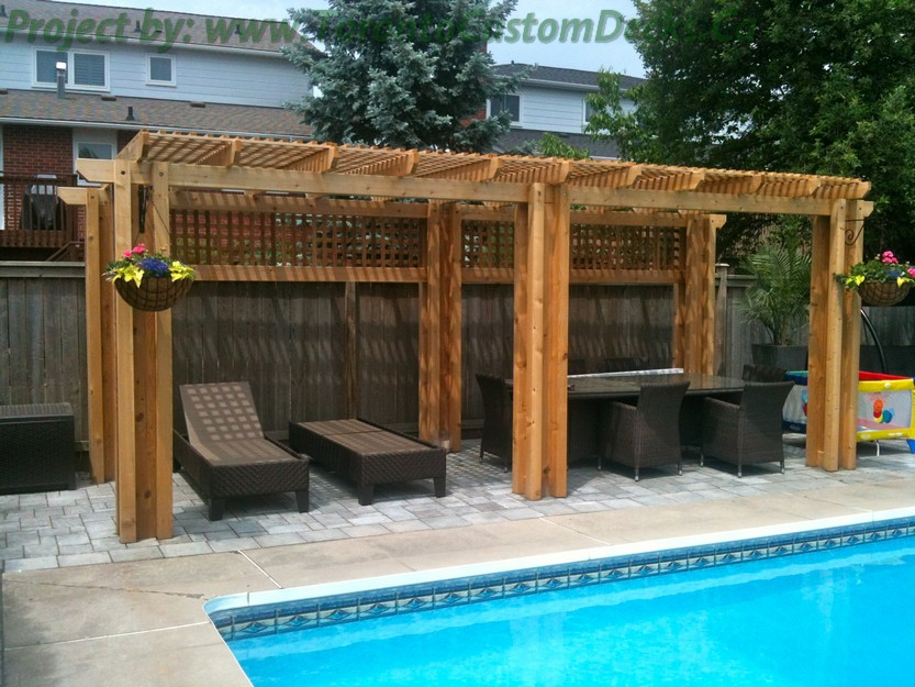Interlock Pool deck with cedar pergola